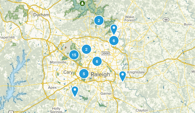 Raleigh, North Carolina Dogs On Leash Map