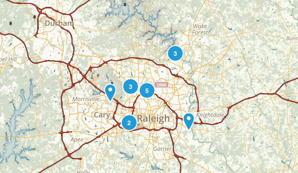 Raleigh, North Carolina Road Biking Map