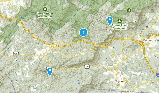 Saluda, North Carolina Hiking Map