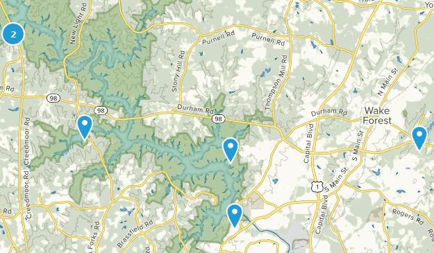 Wake Forest, North Carolina Hiking Map