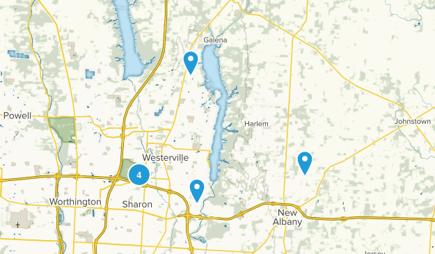 Westerville, Ohio Trail Running Map