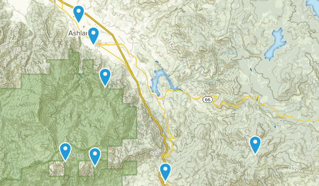 Ashland, Oregon Dogs On Leash Map