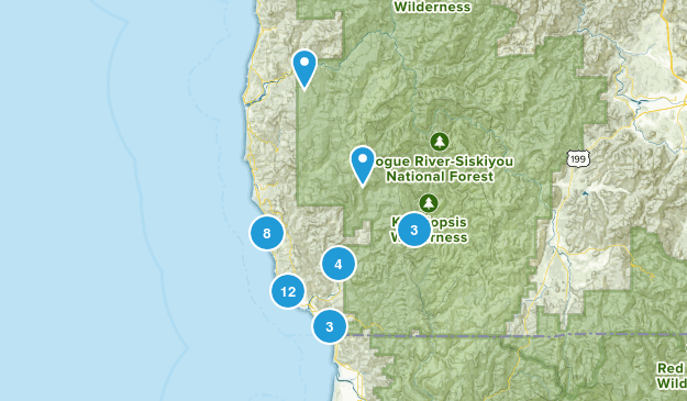 Brookings, Oregon Hiking Map