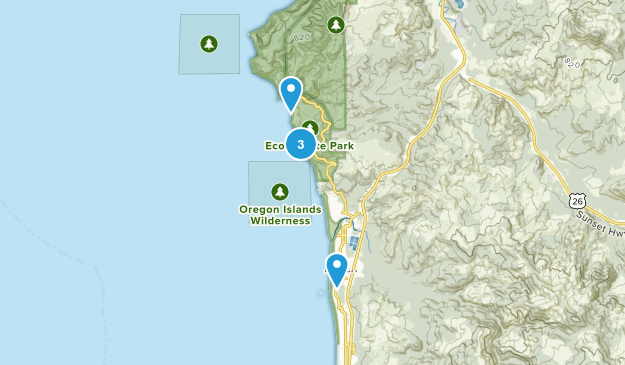Cannon Beach, Oregon Hiking Map