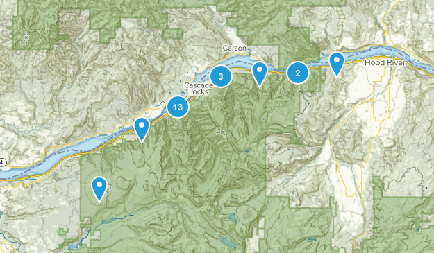 Cascade Locks, Oregon Forest Map