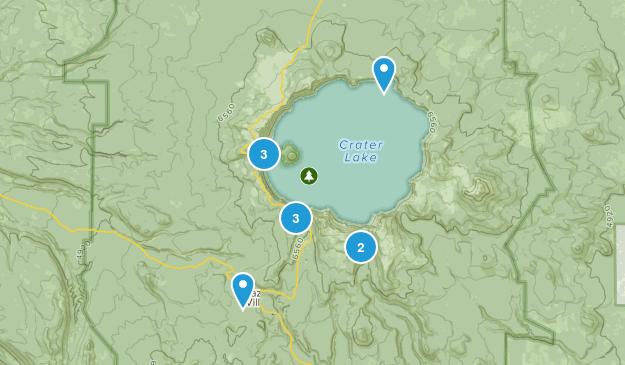 Crater Lake, Oregon Hiking Map