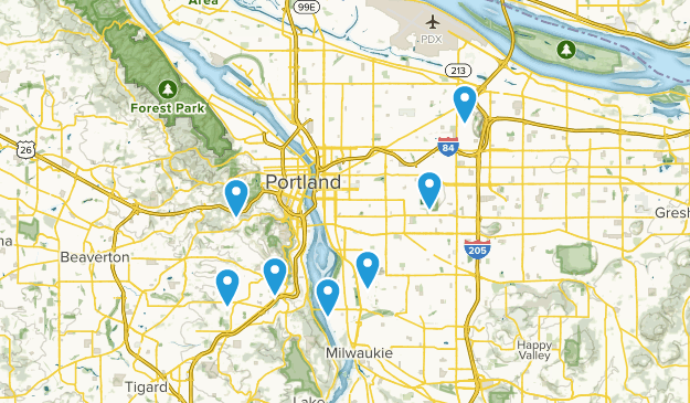 Portland, Oregon Partially Paved Map
