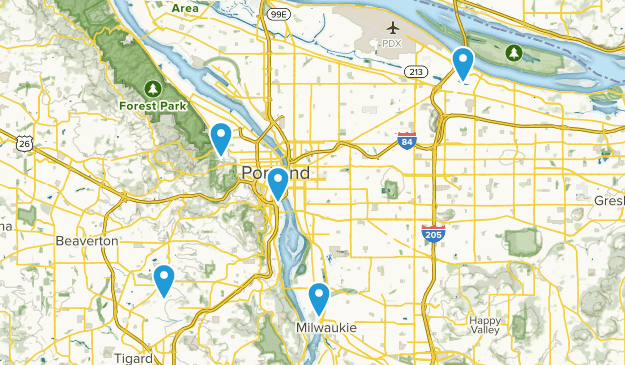 Portland, Oregon Paved Map