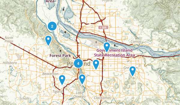 Portland, Oregon Road Biking Map