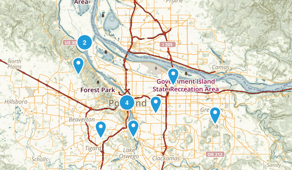Portland, Oregon Road Biking Map