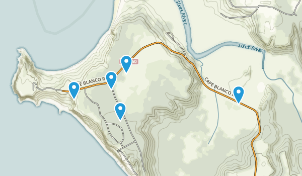 Sixes, Oregon Forest Map