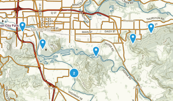 Springfield, Oregon Trail Running Map