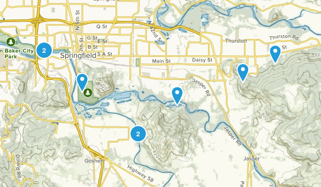 Springfield, Oregon Trail Running Map