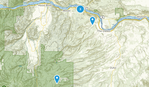 The Dalles, Oregon Hiking Map