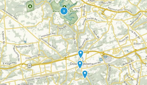 Downingtown, Pennsylvania Dogs On Leash Map