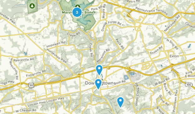 Downingtown, Pennsylvania Trail Running Map