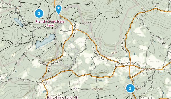 Elverson, Pennsylvania Forest Map