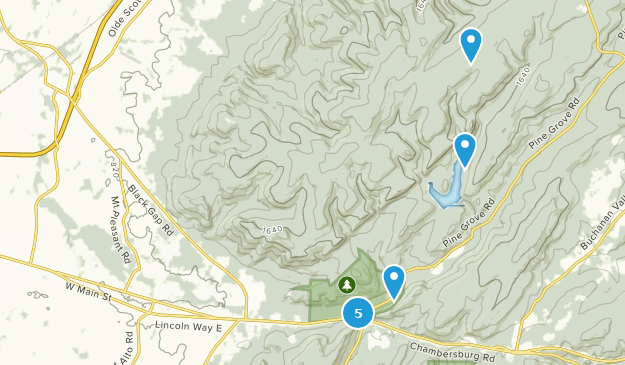 Fayetteville, Pennsylvania Hiking Map