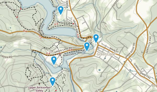 Green Lane, Pennsylvania Walking Map