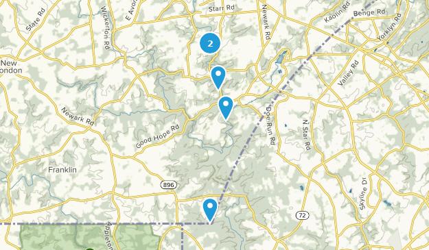 Landenberg, Pennsylvania Hiking Map