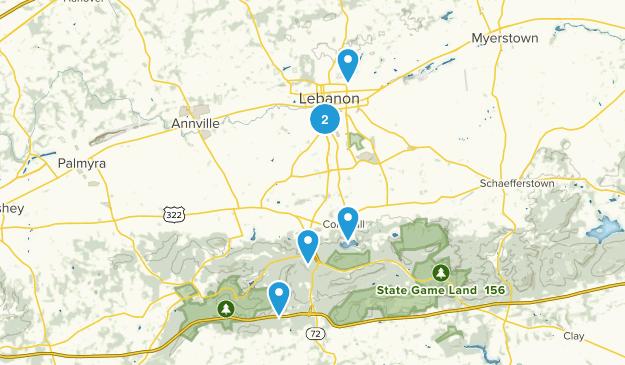 Lebanon, Pennsylvania Dogs On Leash Map