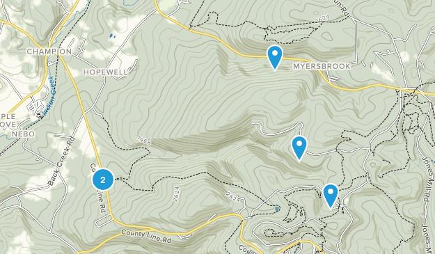 Myersbrook, Pennsylvania Hiking Map