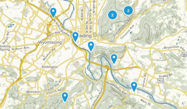 Reading, Pennsylvania Hiking Map