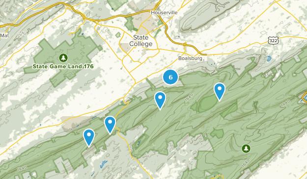 State College, Pennsylvania Bird Watching Map