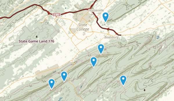 State College, Pennsylvania Hiking Map