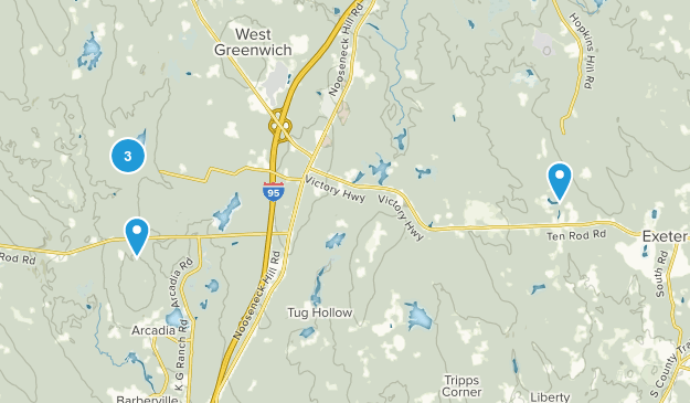 Exeter, Rhode Island Lake Map
