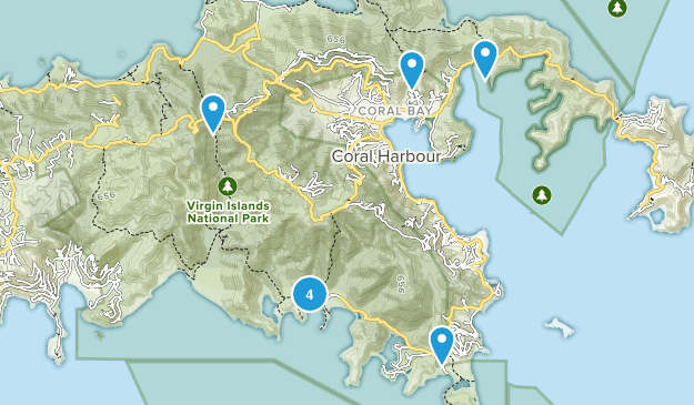 Reef Bay, Saint John Hiking Map