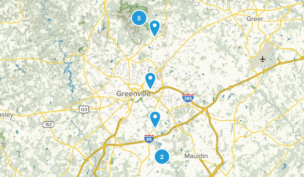 Greenville, South Carolina Dogs On Leash Map