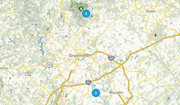 Greenville, South Carolina Nature Trips Map