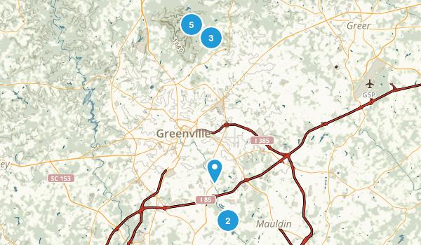 Greenville, South Carolina Trail Running Map