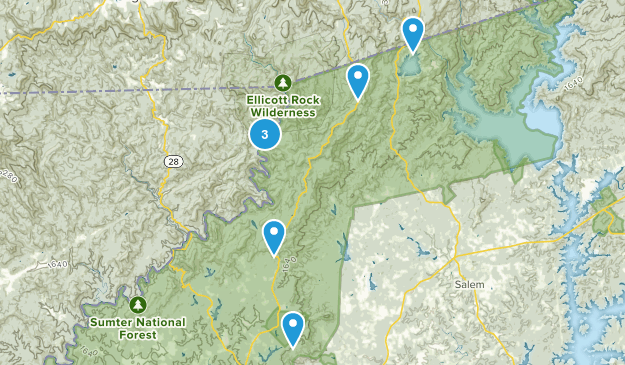 Mountain Rest, South Carolina Backpacking Map