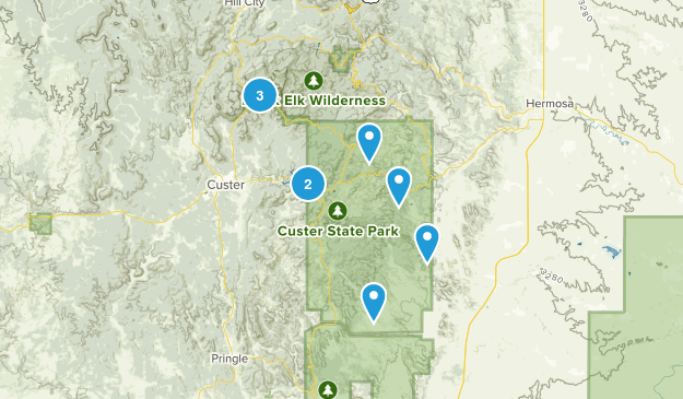 Custer, South Dakota Dogs On Leash Map
