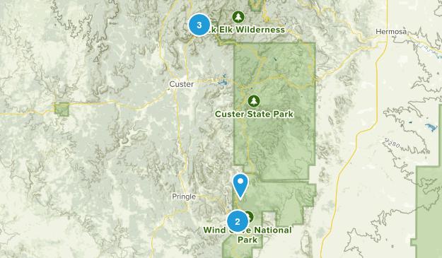 East Custer, South Dakota Hiking Map