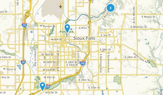 Sioux Falls, South Dakota Dogs On Leash Map