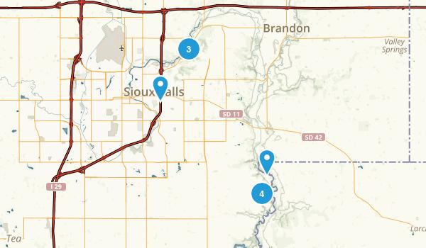 Sioux Falls, South Dakota Hiking Map