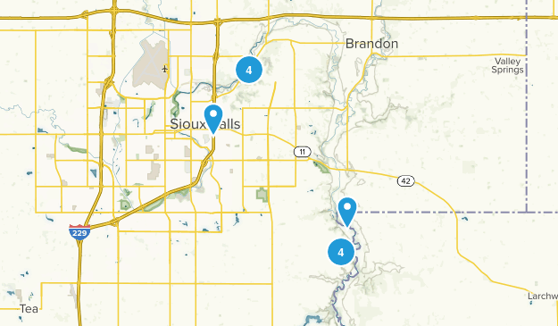 Sioux Falls, South Dakota Hiking Map
