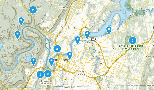 Chattanooga, Tennessee Dogs On Leash Map