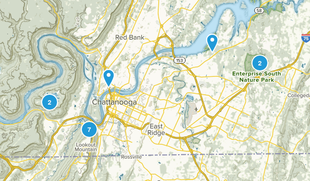 Chattanooga, Tennessee Mountain Biking Map