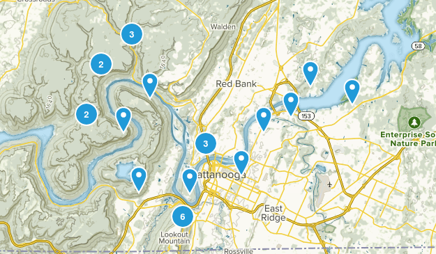 Chattanooga, Tennessee Walking Map