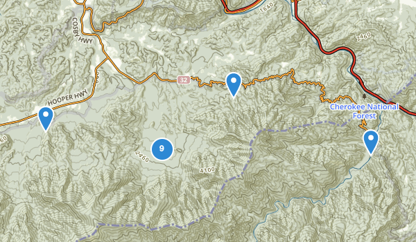 Cosby, Tennessee Hiking Map