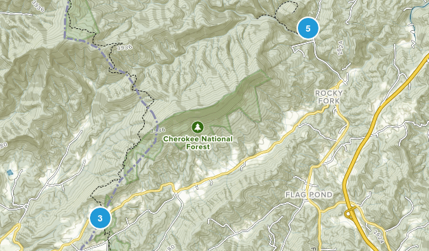 Flag Pond, Tennessee Hiking Map