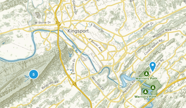 Kingsport, Tennessee Hiking Map