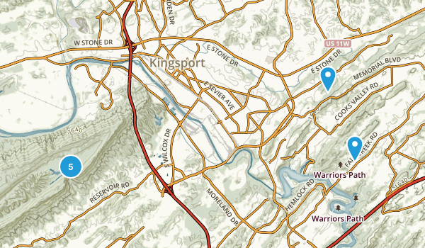 Kingsport, Tennessee Walking Map