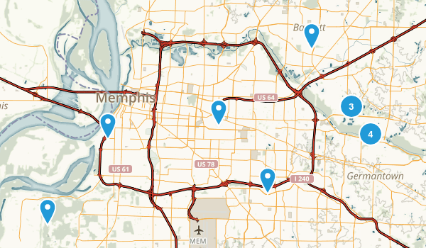 Memphis, Tennessee Dogs On Leash Map