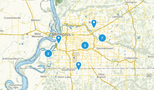 Memphis, Tennessee Hiking Map