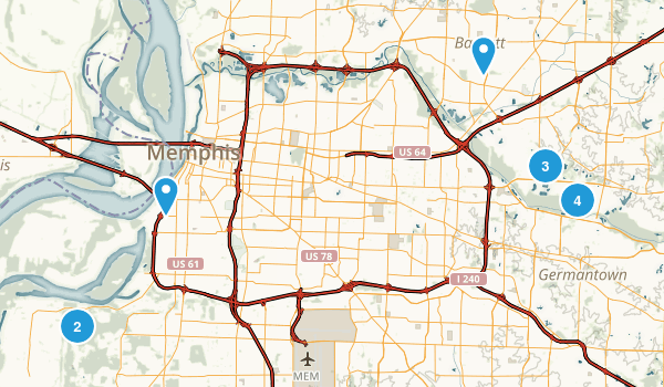 Memphis, Tennessee Trail Running Map